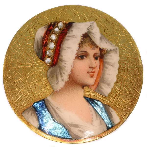 Antique Victorian brooch with enameled portrait of young French peasant girl by Unknown