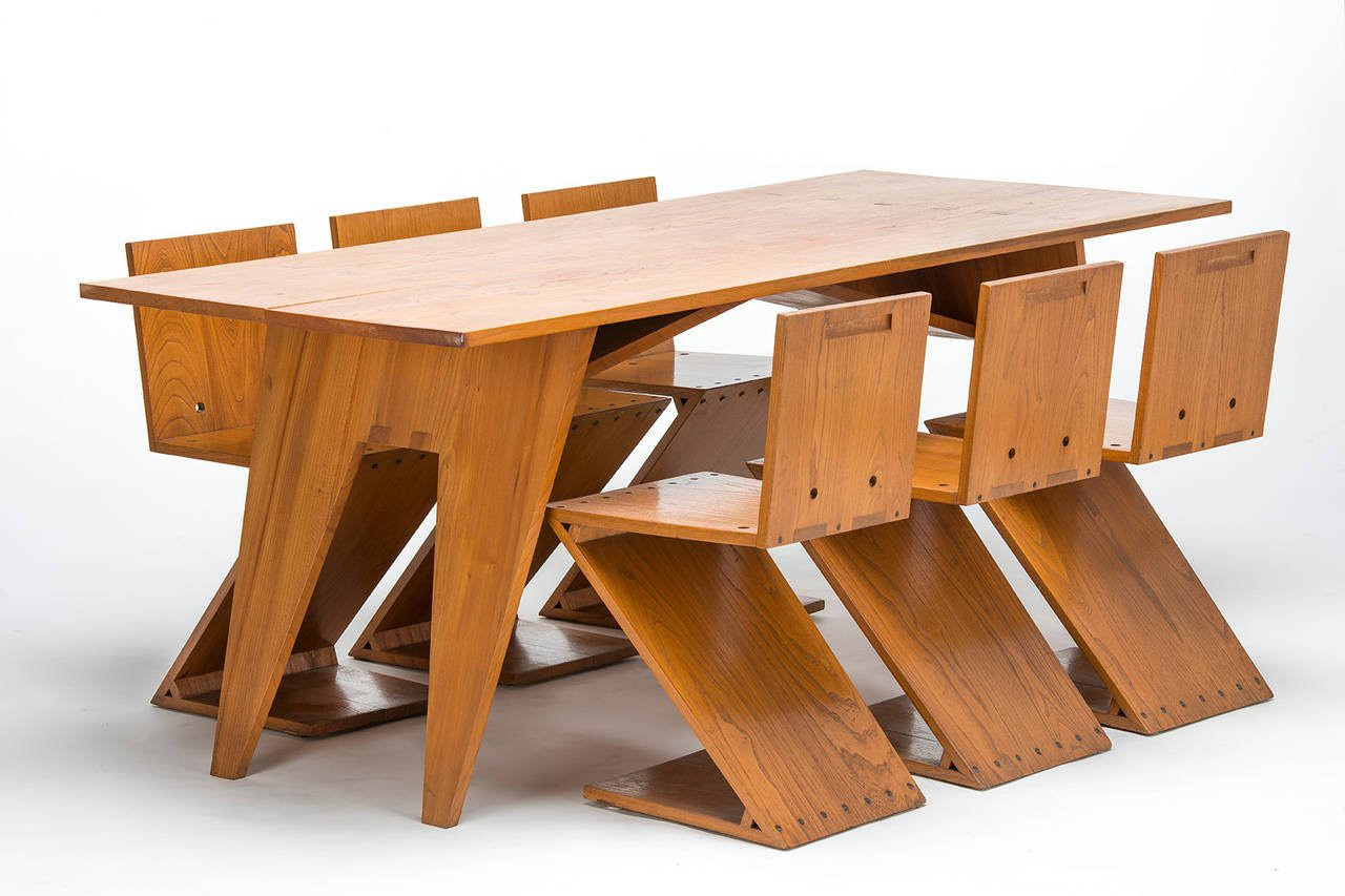 Zigzag Table With Six Matching Zigzag Chairs By Gerrit Thomas Rietveld
