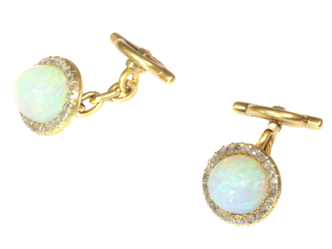 Late Victorian cufflinks 18K gold diamond and high domed opals by Unknown Artist