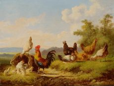 A rooster, hens and chickens near a basket by Albertus Verhoesen