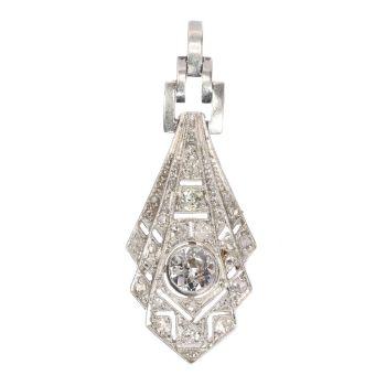 Art Deco diamond platinum pendant by Unknown Artist
