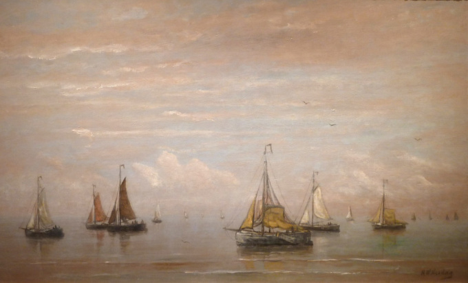 Many ships on a calm sea (blue tones) by Hendrik Willem Mesdag