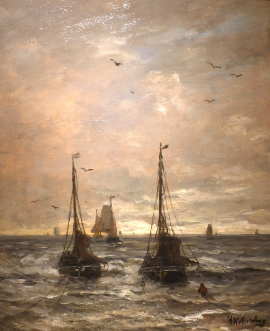 Anchored ships near the shore by Hendrik Willem Mesdag