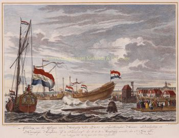Launching VOC ship  by  Reinier Vinkeles