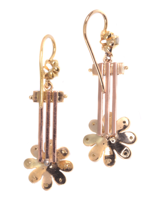 Antique gold Victorian pendant earrings with half seed pearls by Unknown
