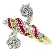 Most elegant antique ring with rubies and diamonds a so-called toi et moi by Unknown Artist