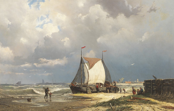Barges near Uitdam, the tower of Ransdorp in the distance by Coen Greive
