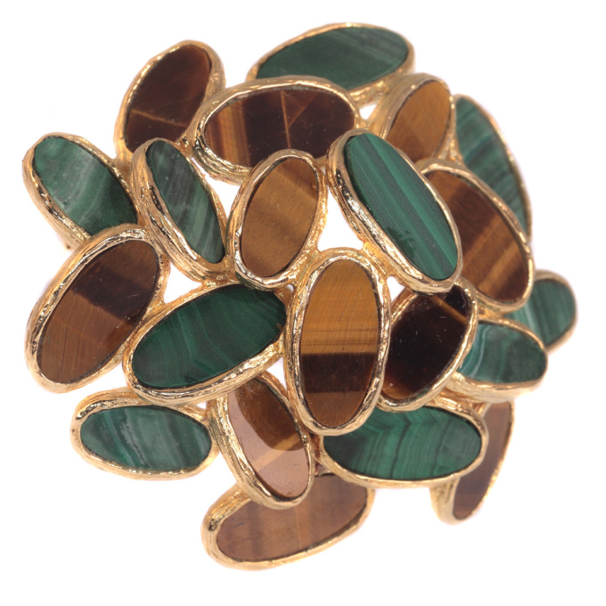 Vintage Sixties pop-art gold brooch set with malachite and tiger eye by Unknown