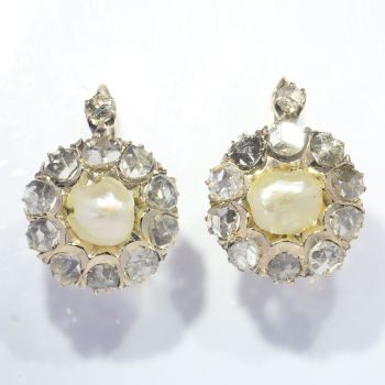 Victorian pink gold earrings set with rose cut diamonds and natural pearls by Unknown Artist