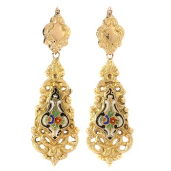 Antique Victorian gold dangle earrings with enamel by Unknown Artist