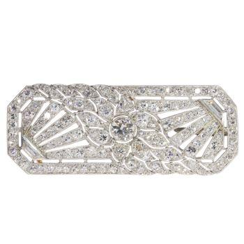 French platinum Art Deco diamond brooch by Unknown Artist