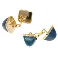 Vintage gold cufflinks set with pain du sucre cabochon cut chrysocolla by Unknown Artist