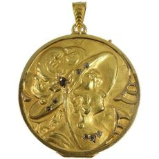 Late Victorian gold locket pendant with rose cut diamonds by Unknown Artist