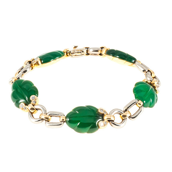 Cartier leaf bracelet with green chalcedony by Cartier