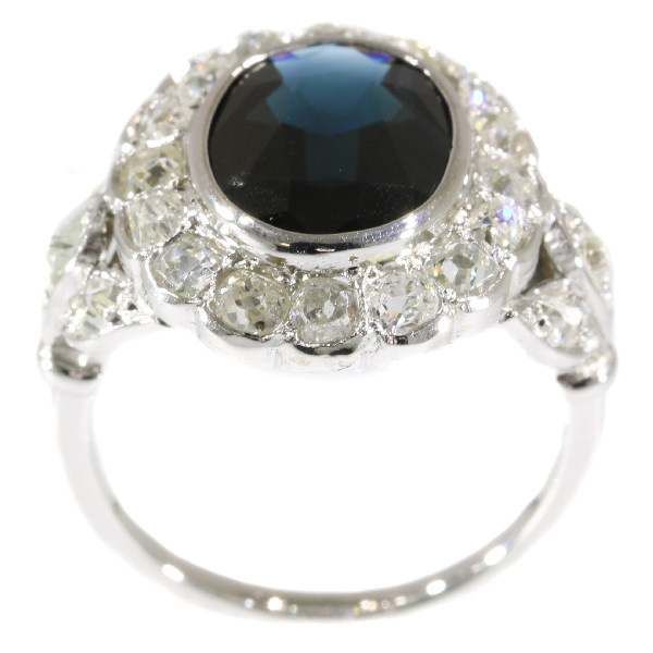 French Art Deco Belle Epoque engagement ring with diamonds and sapphire by Unknown