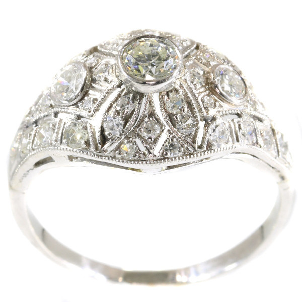 Platinum diamond engagement ring slightly domed by Unknown Artist