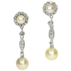 Vintage diamond and pearl ear drops by Unknown Artist