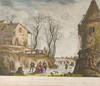 ijsgezicht, winter scene, after Jean Baptiste Pillement by Canot, Pierre Charles