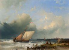 Ships sailing off the coast