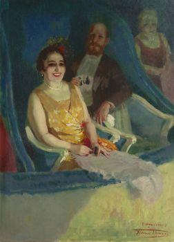 In the theatre by Henri Joseph Thomas
