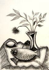 Two fish, a lemon and flower in a vase