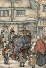 Street organ player with monkey  by Anton Pieck