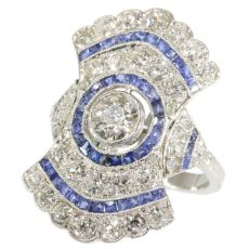 Radiating diamond and sapphire Art Deco ring by Unknown Artist