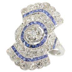 Radiating diamond and sapphire Art Deco ring