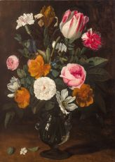 A Bouquet of Flowers in a Glass Vase by Jan Philip van Thielen