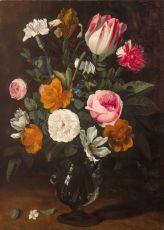A Bouquet of Flowers in a Glass Vase by Jan Philip van Thielen