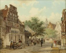 Town view (Oudewater) by Cornelis Springer