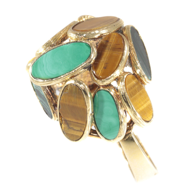 Vintage Sixties pop-art gold ring set with malachite and tiger eye by Unknown Artist