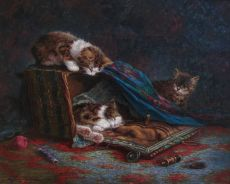 Kittens playing with sewing basket by Cornelis Raaphorst