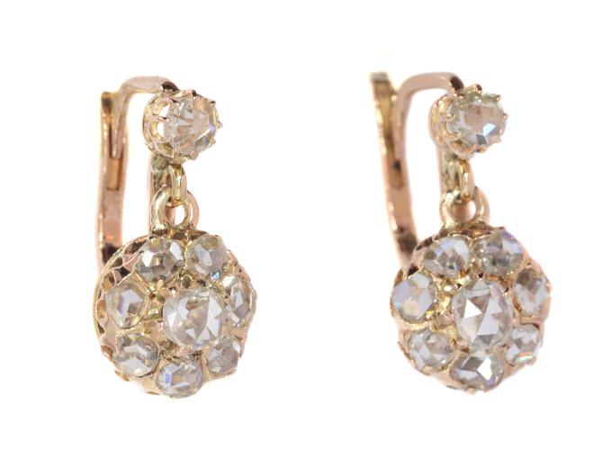 Victorian rose cut diamond earrings by Unknown Artist
