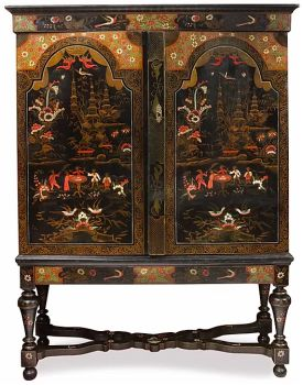 UNIQUE DUTCH POLYCHROME LACQUERED CHINOISERIE CABINET ON STAND by Unknown Artist