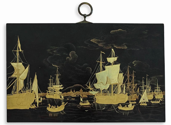 A JAPANESE LACQUER PLAQUE DEPICTING THE ROADSTEAD OF BATAVIA BY 'LAKWERKER SASAYA' by Unknown Artist