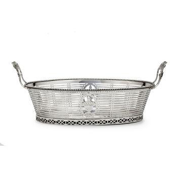 Dutch silver bread basket by Johannes le Blanc