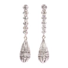 Art Deco diamond pendent earrings by Unknown Artist
