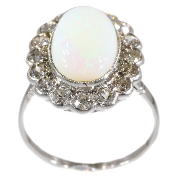 Vintage diamond opal engagement ring by Unknown