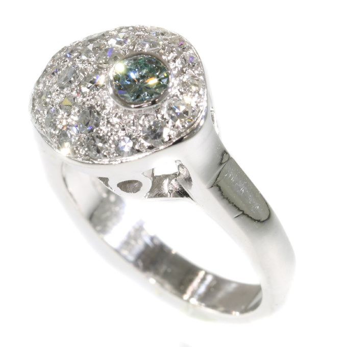 Vintage Fifties diamond ring with natural light blue diamond by Unknown