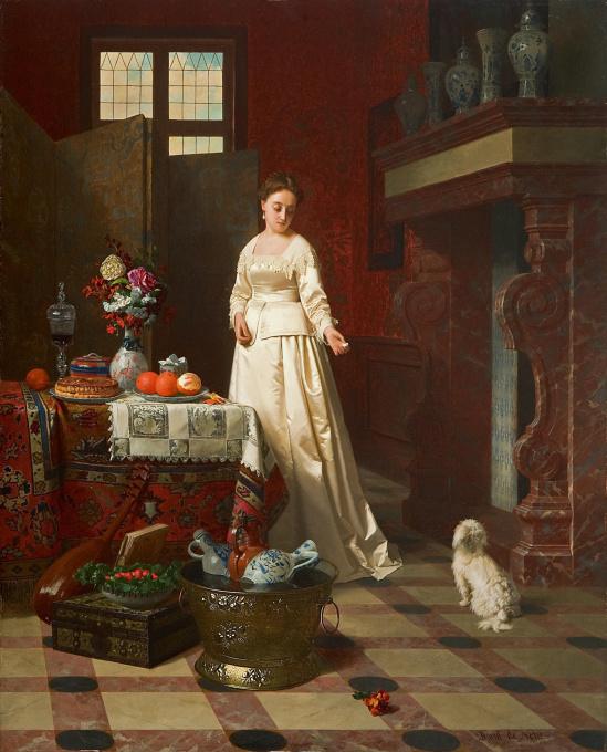 Interior with elegant lady by Petrus Renier Hubertus Knarren