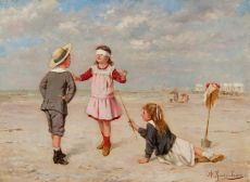 Blind cloth playing on the beach by Albert Roosenboom