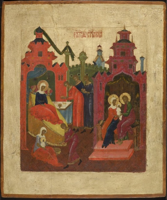 Russian Wooden Icon: The Birth of the Virgin by Unknown Artist