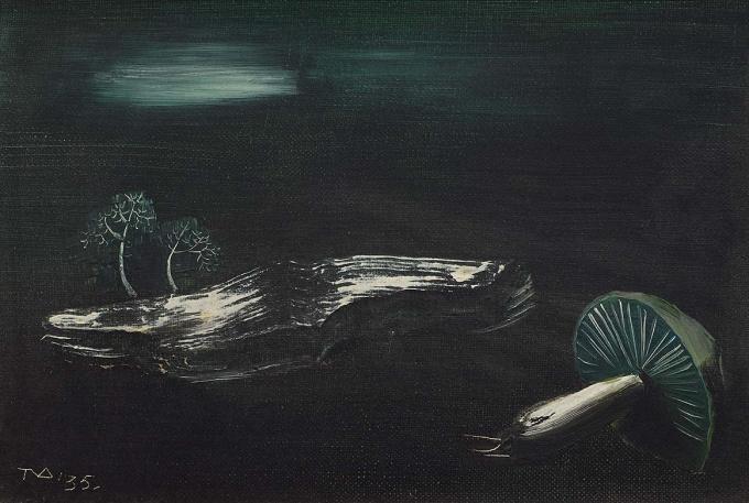 Stilleven met paddenstoel en takje by Tinus van Doorn