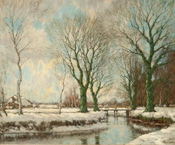 The Vordense beek in winter by Arnold Marc Gorter