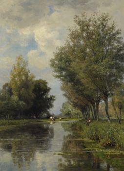 Anglers in a polder landscape by Jan Willem van Borselen