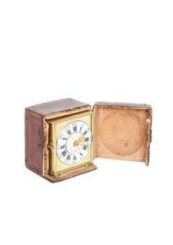 A rare and small German brass travel alarm clock with travel case, circa 1770 by Unknown Artist
