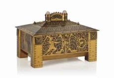 A fine amboyna and brass casket