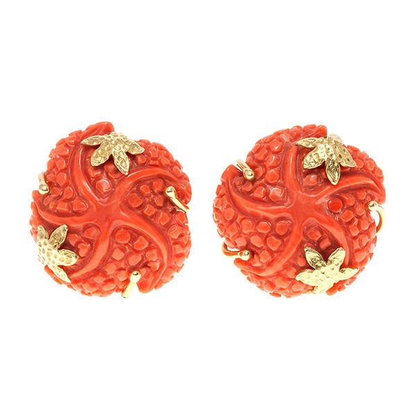 Starfish coral earstuds by Unknown Artist