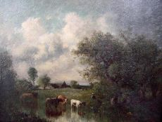 Cows near the waterfront by Jules Dupré